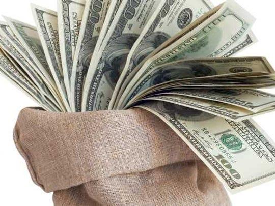 A money bag full of cash.