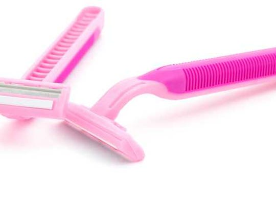 Pink disposable razors.