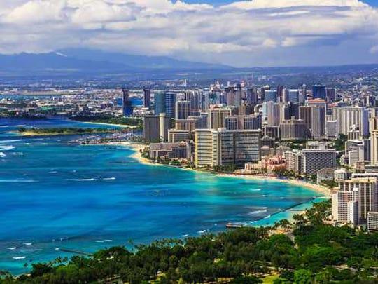skyline of Honolulu Hawaii and Waikiki Beach