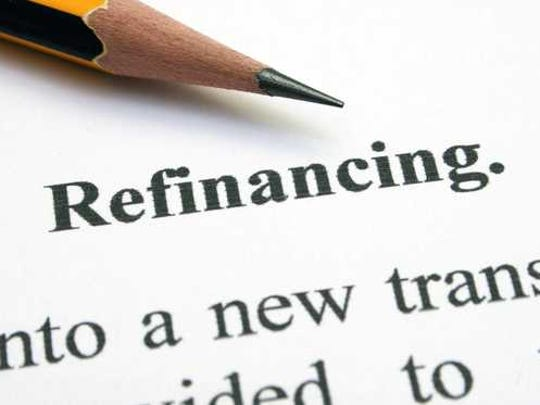 The word refinancing and a pencil.