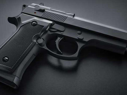 A black handgun.