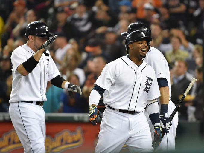 Tigers' Rajai Davis is all smiles after his two-run