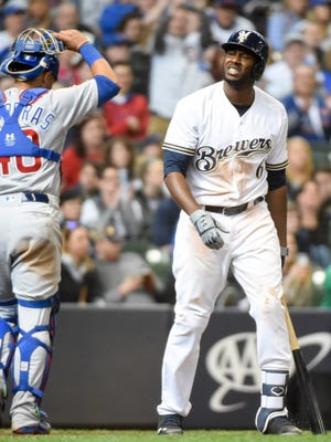 Brewers center fielder Lorenzo Cain reacts after striking out in the eighth inning Sunday. He  has opened the season 4 for 30.
