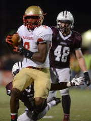 Garrett Dickerson (8) pictured in high school playing for Bergen Catholic against Don Bosco on Nov. 2, 2013.