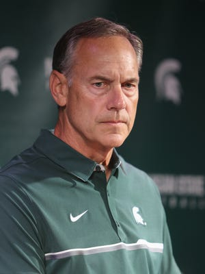 Michigan State head football coach Mark Dantonio talks with reporters about the upcoming season Monday, August 8, 2016 at Spartan Stadium in East Lansing.