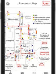 An evacuation plan on the Quick Access mobile app.