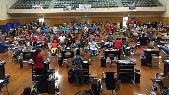 Activity at the Tulare 9/11 Rotary Memorial Blood Drive