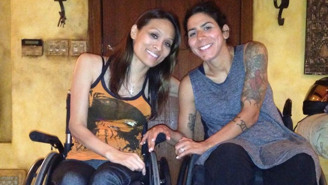 Angela Rockwood of Los Angeles, left,  and Erica Coulston of Bloomfield Hills were injured in separate accidents. They became friends after being part of a spinal cord recovery program.
