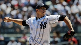 Luis Cessa delivers a pitch against the Rangers Saturday at Yankee Stadium. The right-hander allowed three runs on three hits in five innings.