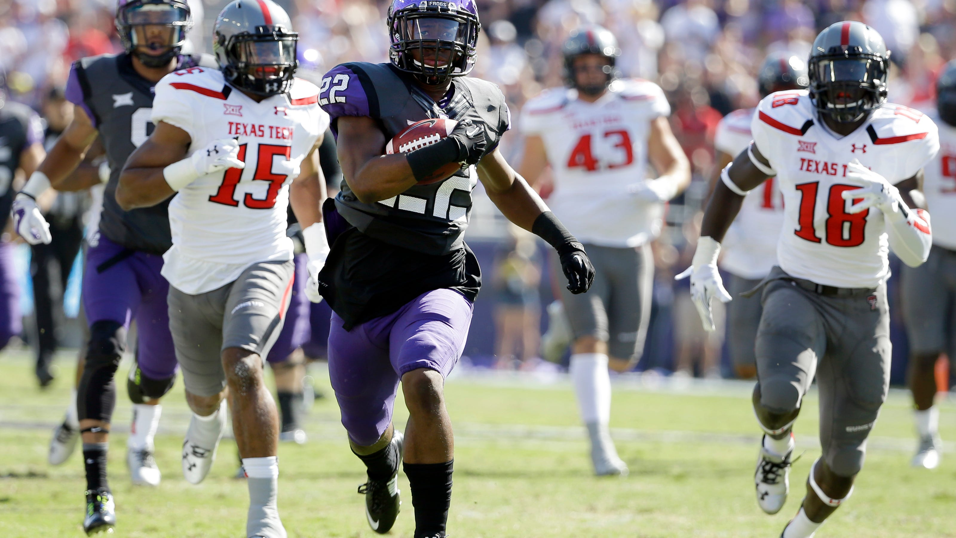 No 10 Tcu Pours It On In Record Setting 82 27 Rout Of Texas Tech