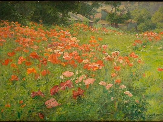 """In Poppyland (Poppy Field),"" 1901, John Ottis Adams, American (1851-1927), oil on canvas, The David Owsley Museum of Art, Ball State University, Muncie, Indiana. Frank C. Ball Collection, gift of the Ball Brothers Foundation, 1995.035.040."