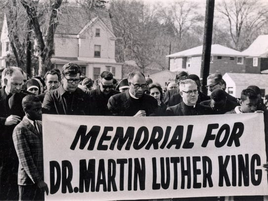 A memorial march for the Rev. Martin Luther King in