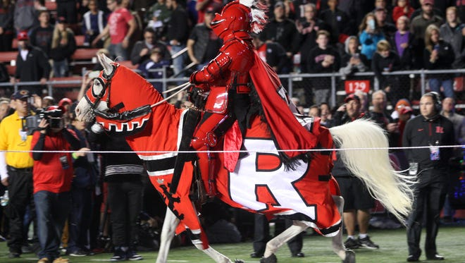 The Scarlet Knight riding a horse is a fixture at Rutgers football home games, of which there are seven on the 2016 schedule.