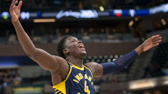 Victor Oladipo, who went 11 for 14,  celebrates near the end of Indiana's win, Orlando Magic at Indiana Pacers, Bankers Life Fieldhouse, Indianapolis, Monday, Nov. 27, 2017. Indiana won 121-109.
