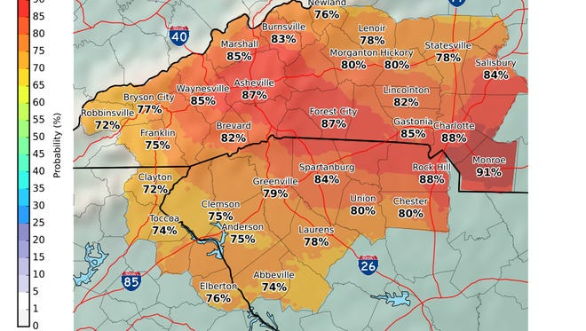 The chances of a measurable snowfall in the Upstate this weekend.