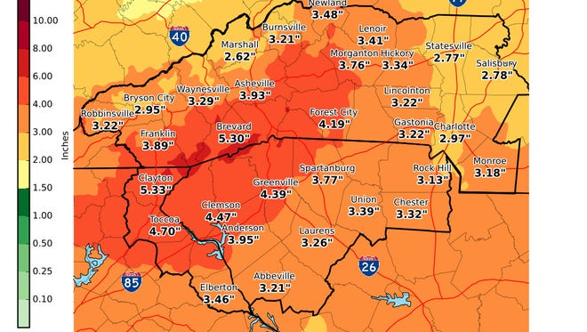 Heavy rainfall will hit the Upstate the week of Memorial Day. Accumulations by Friday, June 1, 2018, will reach up to 5 inches in some areas.