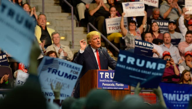 Florida primary watch for Escambia and Santa Rosa County scheduled for 5 p.m. Tuesday at Oops Alley. This file photo is from when Trump spoke in January at the Pensacola Bay Center.