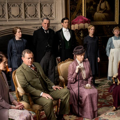 "The ""Downton Abbey"" cast gathers for a scene in Season"
