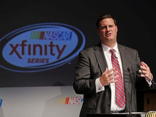 NASCAR Executive Vice President and Chief Racing Development Officer Steve O'Donnell speaks to the media during the Charlotte Motor Speedway NASCAR Media Tour in Charlotte, N.C., Tuesday, Jan. 19, 2016. NASCAR announced Tuesday that the Xfinity Series and the Camping World Truck Series will begin using a Chase format in 2016, mostly mirroring the playoff-style setup used to determine the Sprint Cup champion the last two years. (AP Photo/Chuck Burton)