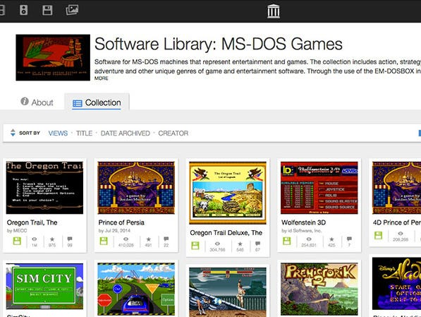A screenshot of the Internet Archive's collection of MS-DOS games.