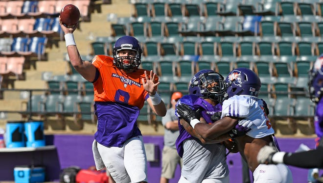 Northwestern State quarterback Brooks Haack, a Louisiana-Lafayette transfer, throws a pass during a scrimmage this spring.