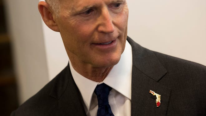 Florida Gov. Rick Scott spoke about Hurricane Irma and job growth while visiting Pyure, an independent stevia sweetener company, Tuesday, Sept. 5, 2017, in Naples.