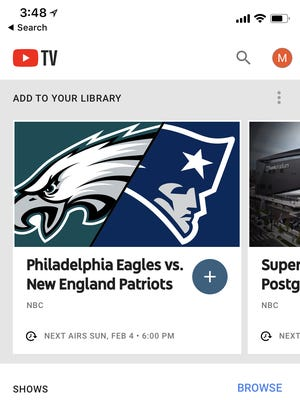 A screenshot of broadband pay-TV subscription service YouTube TV on a smartphone.