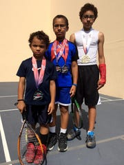 Ranging in age from 5 to 13, Caleb, Joseph and Carson Marshall are already national racquetball medalists.