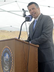 Governor Brian Sandoval speaks during the USA Parkway ribbon-cutting ceremony.