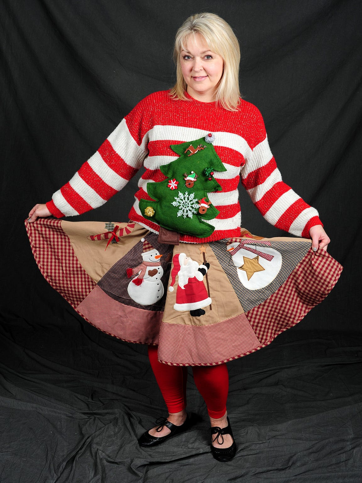 Cindy Hall made this ugly Christmas sweater. It has
