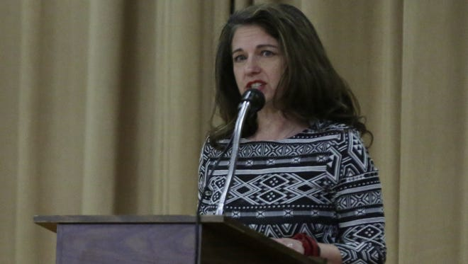 Cindy Olson, the finalist for principal of Washington Middle School in Green Bay, speaks during a 2017 presentation at Merrill Middle School in Oshkosh, where she currently works as the school's principal.