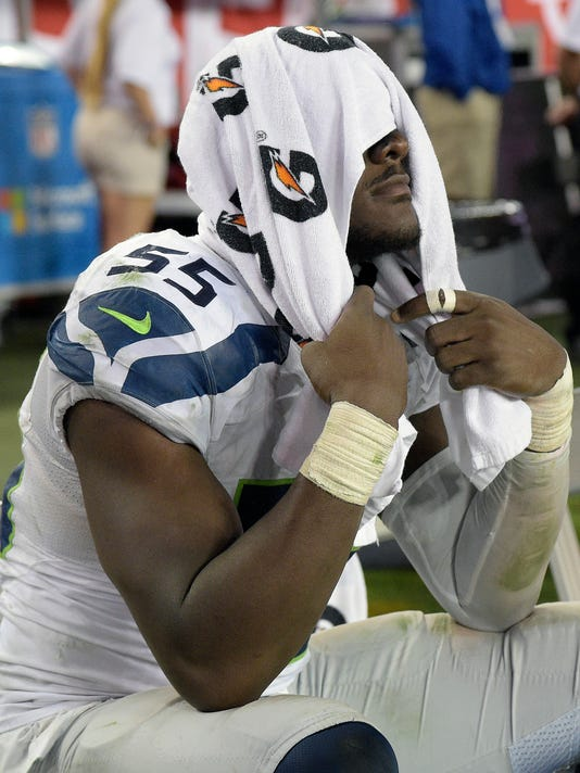 Seattle Seahawks defensive end Frank Clark (55) reacts during the final seconds of the Seahawks 14-5 loss to the Tampa Bay Buccaneers during an NFL football game Sunday, Nov. 27, 2016, in Tampa, Fla. (AP Photo/Phelan M. Ebenhack)
