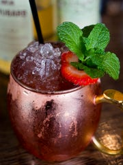 From The Gryphon bar, Rhuby Mule: Art in the Age rhubarb liquor, muddled mint and strawberries, lime, ginger beer.