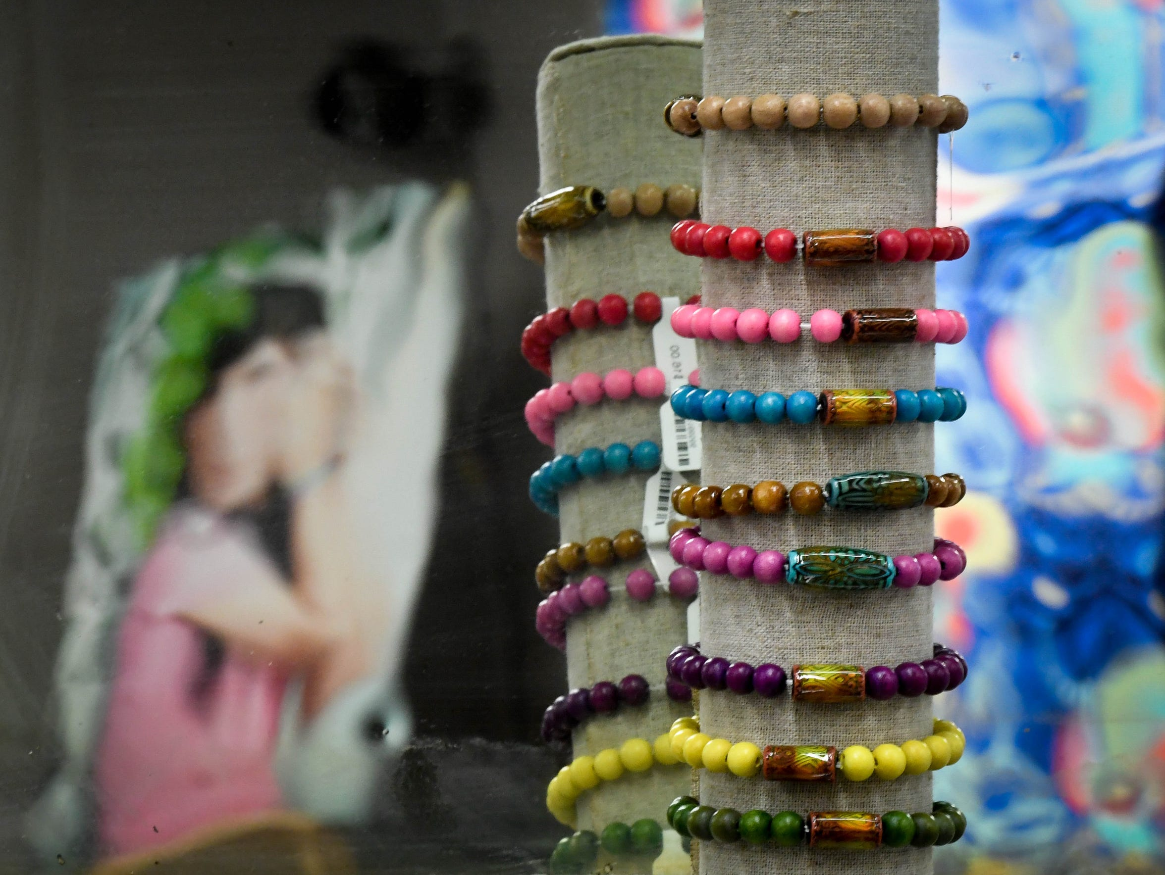 Bracelets on display at Henderson's HorseFeathers Jewelry