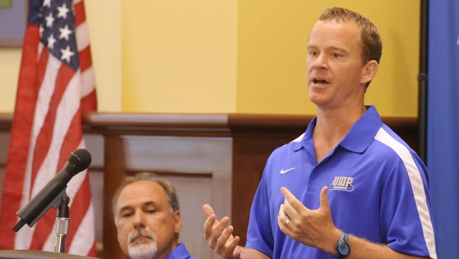 UWF men's soccer coach Bill Elliott, seen in this 2015 file photo, hopes to lead the Argos to their first Gulf South Conference title since 2013.