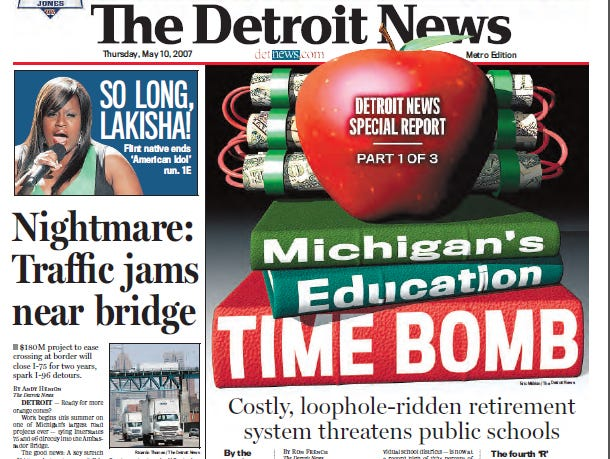 View the front page of The Detroit News each day of the week of May 7, 2007.