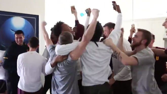 Bobby Hurley and ASU men's basketball team celebrate after learning they received an at-large bid for the NCAA Tournament.