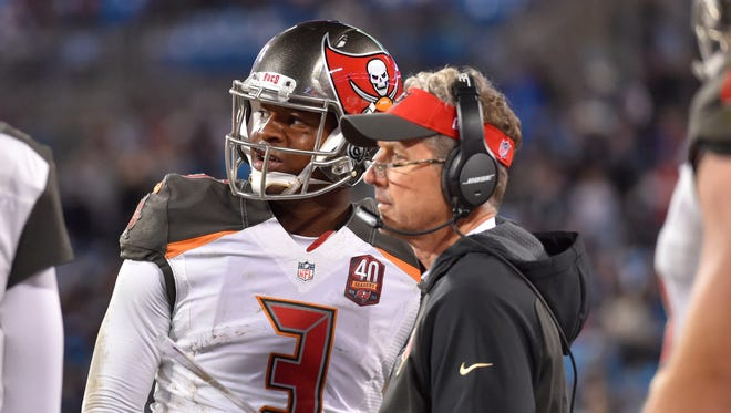 Tampa Bay Buccaneers quarterback Jameis Winston (3) with offensive coordinator Dirk Koetter in the fourth quarter.