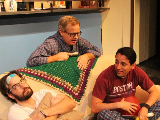 "Angelo Civic Theatre's production of ""The Boys Next Door"" features Tyler Tennell as Barry (from left), Jon Mark Hogg as Arnold, Pedro Ramirez as Lucien and Wade Sorrells as Norman."