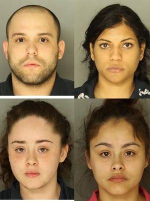 Clockwise from left: Antonio J. Rivera, Haydee Gomez, Xiomara Figueroa, Kiomara Figueroa. All four were charged in a Lancaster County drug bust.
