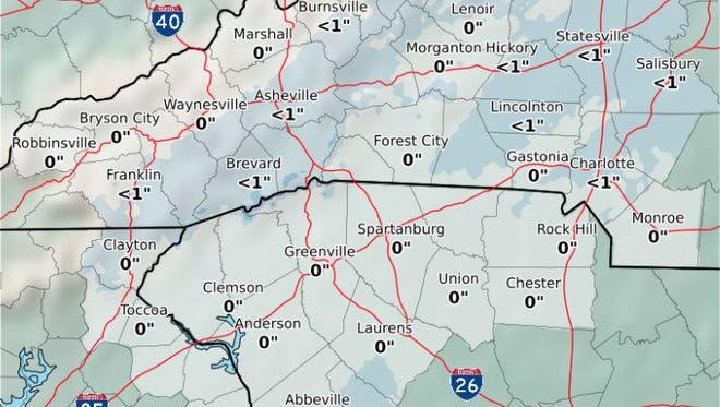 The National Weather Service at GSP Airport is predicting possible snowfall Friday with very little to no accumulation