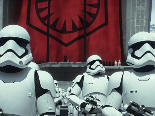 """Stormtroopers in a scene from """"Star Wars: The Force Awakens"""""""