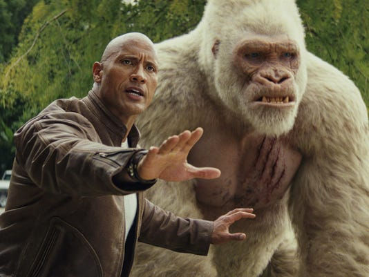 dbccb07d9 Davis Okoye (Dwayne Johnson) tries to protect his growing gorilla pal from  the authorities in