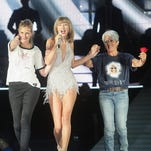 """SANTA CLARA, CA - AUGUST 15:  (L-R) Actress Julia Roberts, Taylor Swift and musician Joan Baez appear together during Swift's """"The 1989 World Tour"""" at Levi's Stadium on August 15, 2015 in Santa Clara, California.  (Photo by John Medina/LP5/Getty Images for TAS)For 1-time use in 8/23/15 Celebrity Superlatives"""