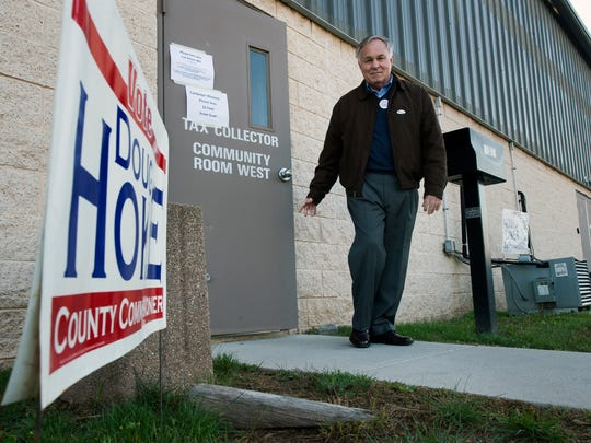 Doug Hoke, running for York County Commissioner, leaves the Dover Township building polling place Election Day Tuesday November 3, 2015 after voting