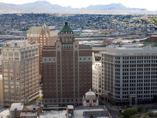 The historic Plaza hotel building in Downtown El Paso, center, was built in 1929 and was one of Conrad Hilton's first hotels. It's new name  is The Plaza Hotel Pioneer Park.