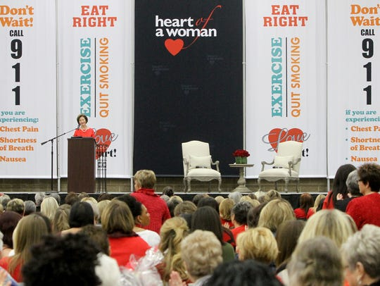 Former first lady Laura Bush gives a speech at Heart