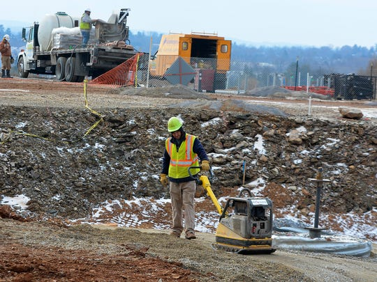 Construction continues at the site of the future UPMC Pinnacle Memorial Hospital, Wednesday,  January 10, 2018. John A. Pavoncello photo
