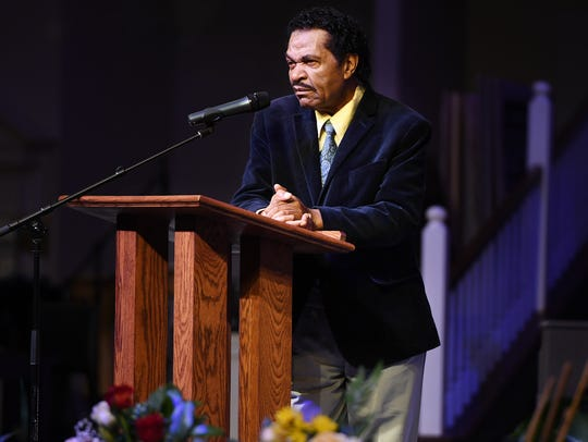 Bobby Rush gave remarks during the celebration of life