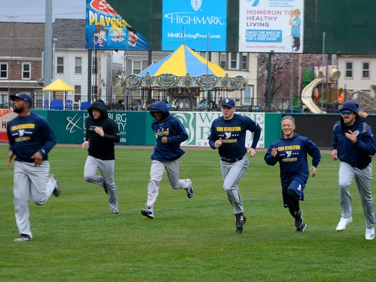 The York Revolution players began spring workouts earlier this week at PeoplesBank Park. The team's Fan Fest is Saturday, April 21, and the club's home opener is Thursday, April 26. John A. Pavoncello photo